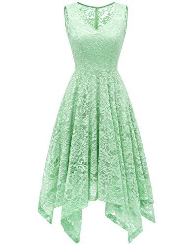 Meetjen Damen Elegant Spitzenkleid V-Ausschnitt Unregelmässig Vokuhila Kleid Festlich Cocktail Abendkleid Mint XL - Für Grün-kleid Mint Frauen