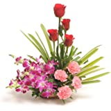 Floralbay Basket Arrangement of 13 Red Roses,Purple Orchids and Pink Carnation Fresh Flowers