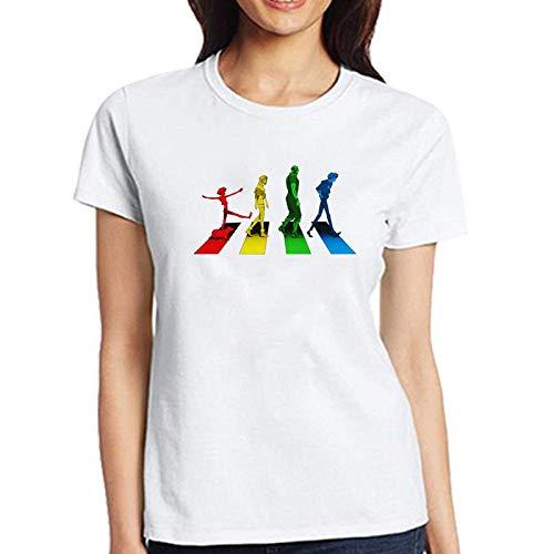 CWHao Europäischen und Amerikanischen Stil Mode Rundhals Pullover Damen T-Shirt Kurzarm, Weiß c, L -