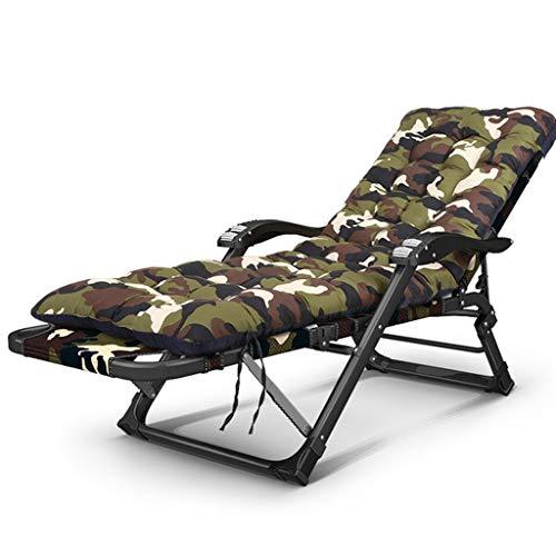 DECHAIR Deck Chair Folding Reclining Chair Outdoor Camping Bed Sun Lounger Chair Garden Beach Chair Sitting Lying Fishing Cotton Cushion