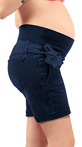 mamajeans - Jeans Shorts für Schwangere, mit Bauchband - Made in Italy (Dunkeldenim 32 DE)