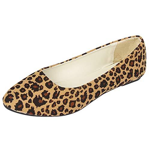 Damen Casual Mary Jane Schuhe, Selou Mädchen Leopard Slip On Flat Shallow Comfort Single Schuhe Frauen Keilabsatz Active Business Rockabilly Elegant Outdoor Glitzer Sneaker - Gabbana Leopard