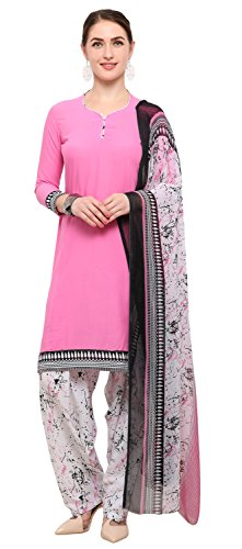 Rajnandini Baby Pink Crepe Plain Unstitched Salwar Suit Dress Material