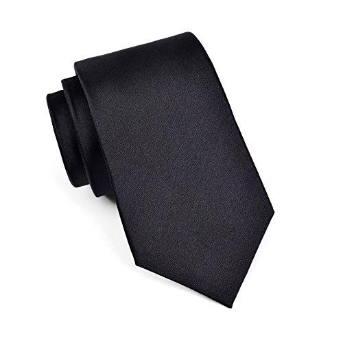 MASSI MORINO Seidenkrawatten für Herren, handgenähte Krawatte aus 100% echter Seide in verschiedenen Farben - schmale 6,5 cm Slim Fit Herrenkrawatte (Schwarz)