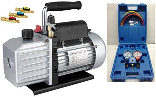 Kälte - Klima - Set TÜV Vakuumpumpe + Monteurhilfe + Schläuche, 51 - 57lt., R410a R404a R134a -