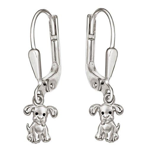 CLEVER SCHMUCK Silberne kleine Mädchen Ohrringe als Ohrhänger 24 mm mit Mini Hund 6 mm mit schwarzen Augen seidenmatt und glänzend Sterling Silber 925