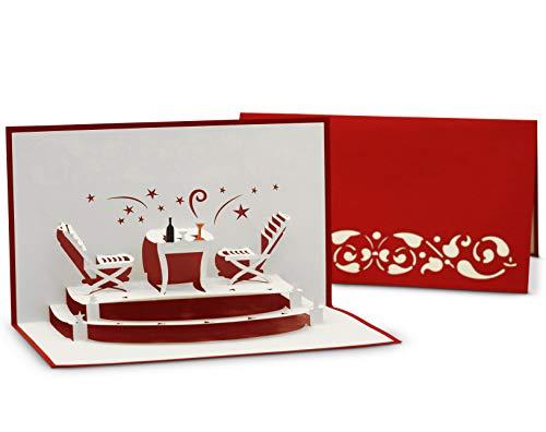 Gruß- & Glückwunschkarte für Essens-Einladung und Restaurant-Gutschein, auch zu Weihnachten - 3D Pop-Up Karte für Feierlichkeiten, gemeinsames Abendessen und Candle-Light Dinner