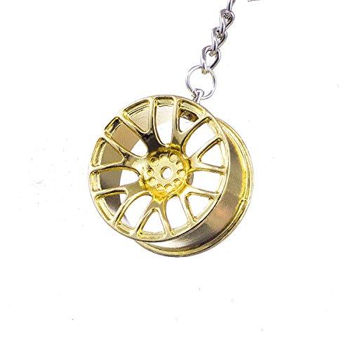 """Bmw Valentinstag (nanomondo Schlüsselanhänger """"Alufelge Gold"""" aus Metall N1106)"""