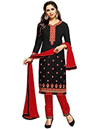 Varayu Women's Black Tery Cotton Thread Embroidery,Border Straight Cut Salwar Suit(584DJ1012)