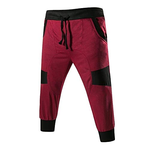 MA87 Mode Herren Outdoor Packwork Schwarz Splicing Drawstring Hosen Hosen