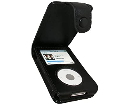 igadgitz Etui Poche de luxe relevable en Cuir véritable, Housse de couleur Noir pour Apple iPod Classic 80 go gb 120 go gb & 160 go gb + clip ceinture amovible