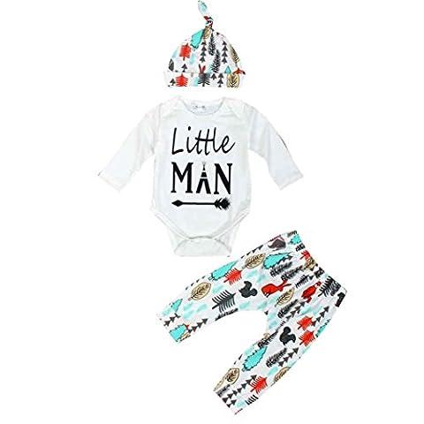 Decorie Newborn Baby Little Man Long Sleeve Top + Trousers + Cap Clothes Set (6-12 Months, White)