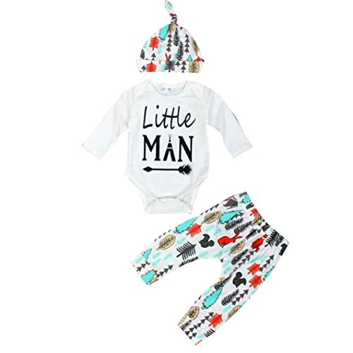 Decorie Newborn Baby Little Man Long Sleeve Top + Trousers + Cap Clothes Set (0-3 Months, White)