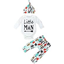 decorie recién nacido bebé poco hombre manga larga superior + pantalones + Cap ropa Set
