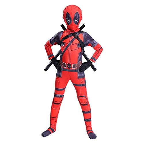Hope Deadpool Cosplay Kostüm Kinder Erwachsene Jumpsuit Siamesische Strumpfhosen Kostüm Halloween Outfit Maskerade Requisiten,Red-120 - Deadpool Kostüm Jumpsuit