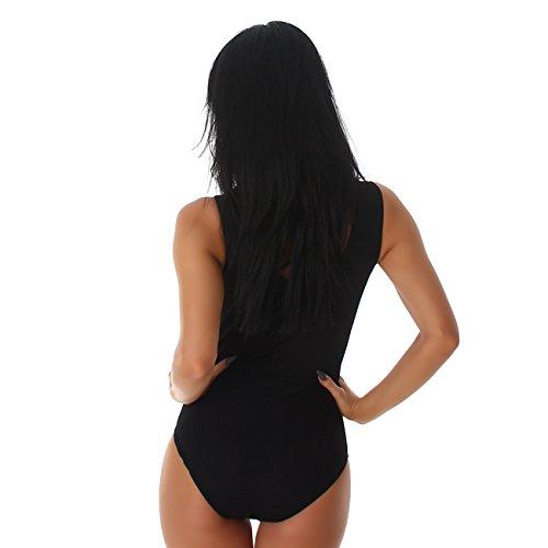 Damen Bodies Body Bodysuit V-Ausschnit Top Schnüre Top Balett Unterwäsche 36 bis 42 Black