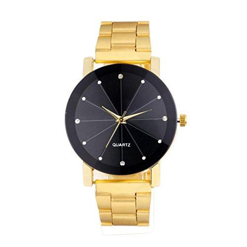 Herren Armbanduhr,Kingwo Mens Wristwatch neue Uhren Luxus Quartz Sport Edelstahl Zifferblatt Edelstahl Armbanduhr (Golden)
