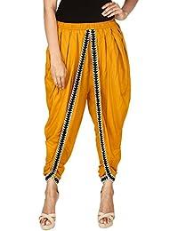Khazana Basics Women's Mustard Color Rayon Dhoti Pant; Patiala Salwar