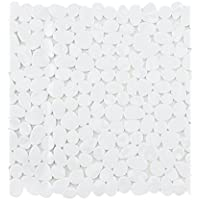 Alfombrilla antideslizante para ducha y baño con efecto de piedra, color blanco/negro/gris/transparente/mezcla, 53x 53cm y 70x 36cm, vinilo, Blanco, Dusche: ca. 53x53 cm