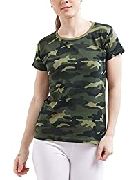 Delhitraderss Women's Military Army Print Regular Fit Top(Size-M)