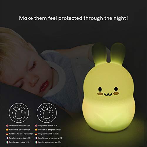 Luce Notturna Bambini con Telecomando e Sensore Tattile 9 Colori - BONNYCO | Luce Notte Bambini con Timer | Luci Notturne Cameretta e Regali Originali Bambini | Lampada Notturna Silicone (Coniglio)