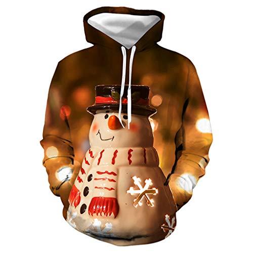 ODRD Weihnachtspullover Merry Christmas Xmas Unisex Hoodie - Lustig Ugly 3D Schneemann lächeln Pullover - Hässliche Pulli Weihnachtspulli Damen Herren Weihnachtsparty (Breaking Bad Unisex Für Erwachsene Kostüm)