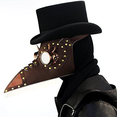 Halloween PU Maske - Steampunk Domineering Pest Arzt Maske PU Leder Gothic Maskerade Maske Cosplay Requisiten-34 * 25 * 22 cm