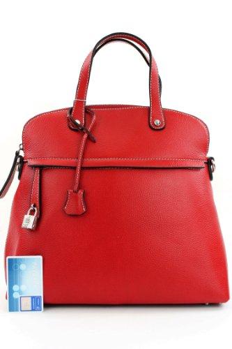 ital. Handtasche Damentasche Tragetasche Umhängetasche Echt Leder Tasche F125920 Rot