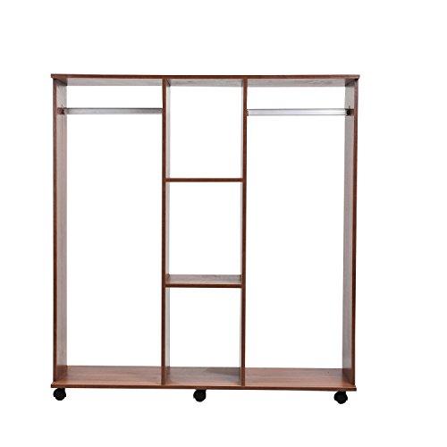 Homcom® Mobiler Kleiderschrank Holzschrank Garderobenschrank Dielenschrank offen braun