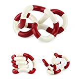 Toamen Tangle Decompression Toys Twist Pressure Toys Twist The Soft Plastic Pipe Toys (Red&White)