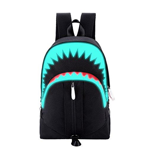 Sxelodie borsa per computer zaini laptop maschio/femmina/studente, forma di squalo grande capacità impermeabile con foro di ricarica usb, viaggio 28 * 13 * 45 cm