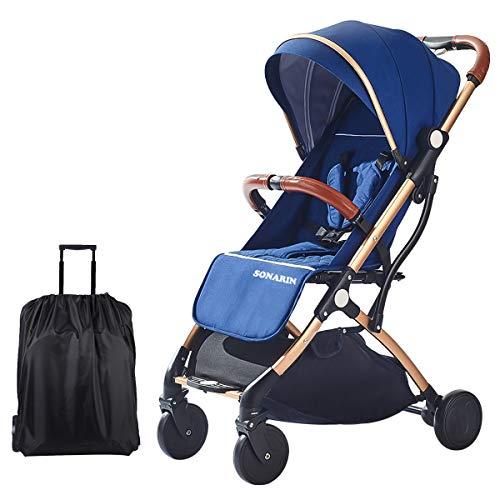 SONARIN Leicht Kinderwagen,kompakt Reise Buggy,einhändig faltbar,Fünf Punkt Gurt,ideal für Flugzeug(Dunkelblau)
