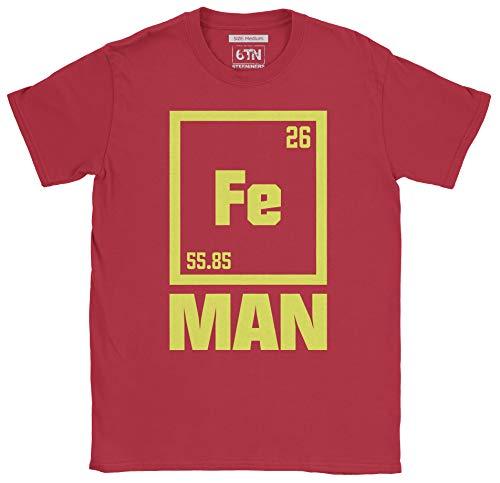 6TN Herren Lustiges FE-Mann-Eisen-periodisches Symbol-T-Shirt (XXL, Kardinal rot) -