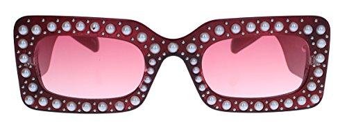 Square Pearl Designer Sonnenbrille für Damen im 60er Jahre Retro Vintage Stil Perlen Blogger Fashion GCP (Cherry Wine)