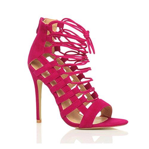 Donna tacco alto cinturino gladiatore ritagliare stringhe sandali scarpe numero Fucsia scamosciata