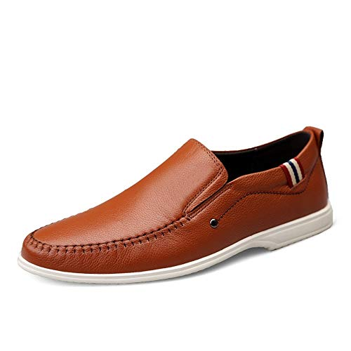 HILOTU Geschäfts Müßiggänger Für Das Mann Leder Kleid, Das Dating Fashion Casual Shoes Fährt Summer Cosy Breathable Anti Rutsch Slipper Mit Flacher,