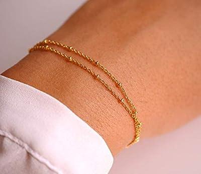 Bracelet chaine satellite plaqué or - bracelet chaine fine dorée - bracelet double tours - minimaliste - chaine boules doré