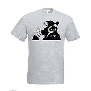 Banksy Affe Mit Kopfhörer Herren T-Shirt / Schimpanse Kopf zu hören Music Kopfhörer / Street Art Graffiti Hemd + Gratis Aufkleber Geschenk - grau, Large