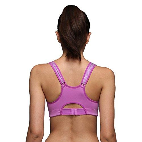 itopfoxeu Femme Séchage rapide High Impact Jogger Yoga Soutien-gorge de sport à fermeture éclair Violet - Violet
