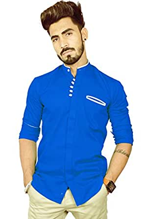 REBANTA Shirt for Men Royal Blue Plain