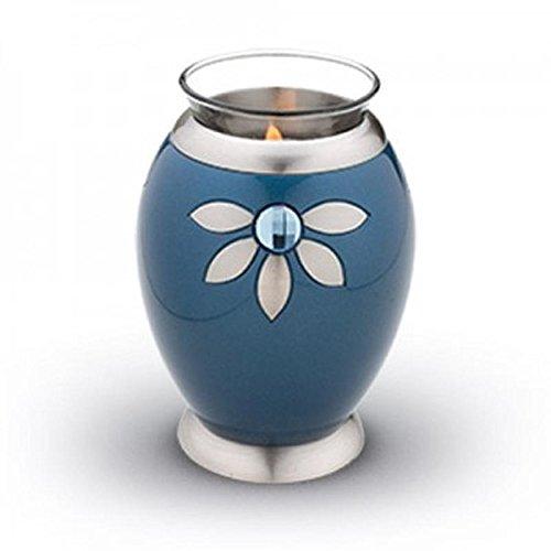 Verbrennung Asche Miniatur-Urne–Kerzenhalter Andenken (Bali Blue Blau)