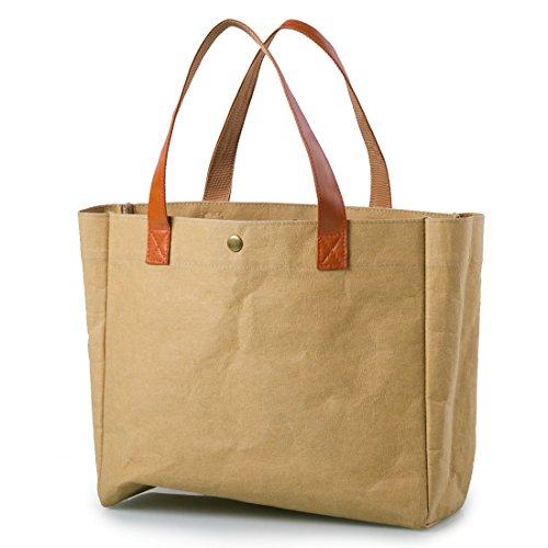 Exklusive Einkaufstasche mit Griff aus waschbarem, widerstandsfähigem Kraftpapier 29 x 25 x 9,9cm, Braun, wiederverwendbar und umweltfreundlich