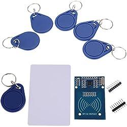 IZOKEE Kit RFID RC522, Module Carte de Lecteur MFRC-522 RF IC avec RFID Carte Puce Chip S50 13.56MHz pour Mifare Arduino Raspberry Pi, 5pcs Porte-clés Supplémentaires (1 x RFID Kit)