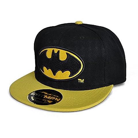 DC Comics Batman Herren College Snapback Cap Classic Batman Logo Baseball Cap–Black/Yellow