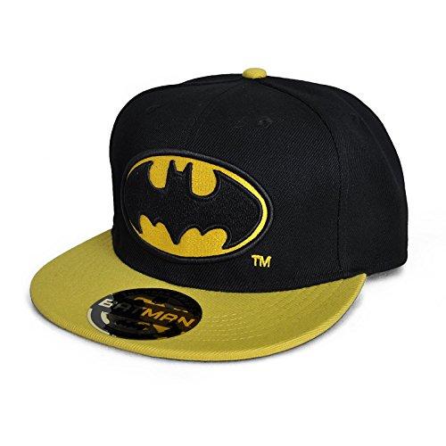 DC Comics Batman Gorra de béisbol con logotipo clásico de Batman, color negro y amarillo
