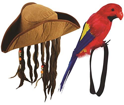 Karibik Piraten Hut mit Haar & Feder Handgelenk Papagei Kostüm Party Set ()