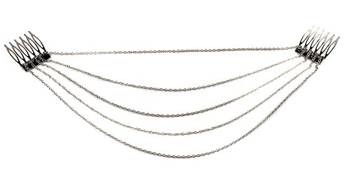 HYL Fashion Jewelry Silver Chic Hair Cuff Pin Head Band Chains 2 Combs Tassels Fringes by HYL Band Tassel Fringe