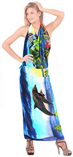 Damen leichte Chiffon Badeanzug Blick auf den Strand Wrap Kreuzfahrt Sonne Kleidsarong Blau|Uns: 36W (3X) / Großbritannien: 38