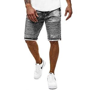 OZONEE Herren Hose Jeans Shorts Kurze Jeanshose Bermuda Straight-Cut Freizeithose Clubwear Modern Täglichen Casual Denim Slim Fit 777/036S