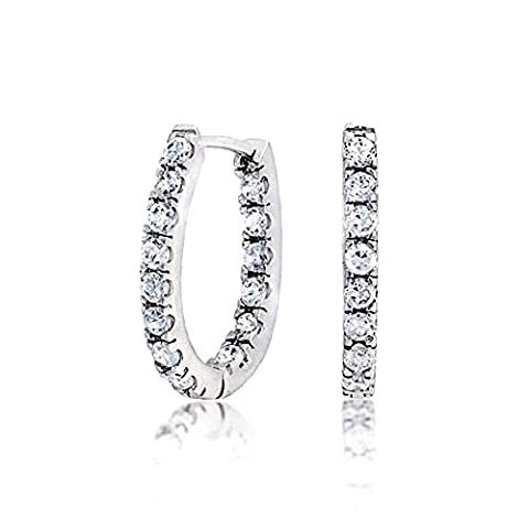 Sterling Silver Pave CZ Thin Inside Out Huggie Hoop Earrings